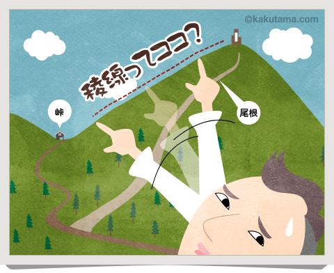 登山用語稜線を指差すイラスト