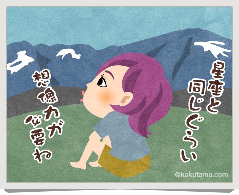 登山用語雪形を見ているイラスト