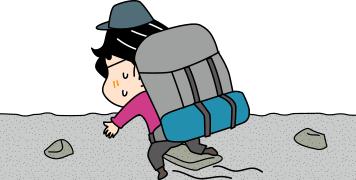 登山用テントを背負って歩き出すイラスト