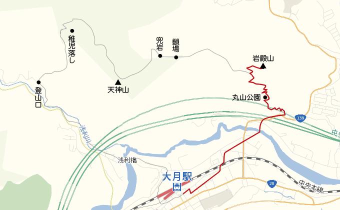 岩殿山地図大月駅から岩殿山