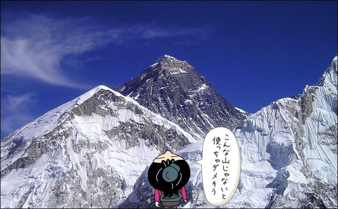 エベレストを見上げる姿