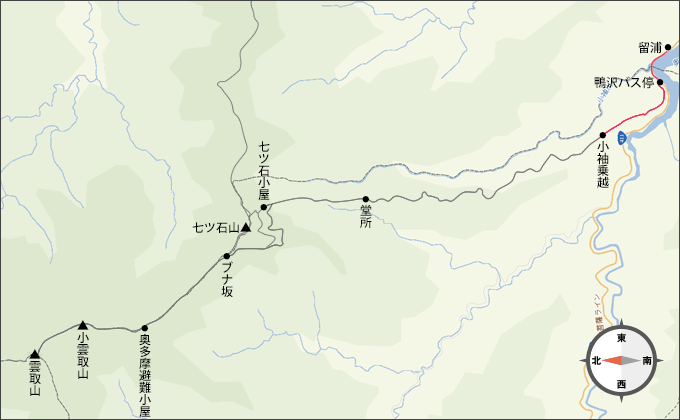 地図雲取山留浦から小袖駐車場