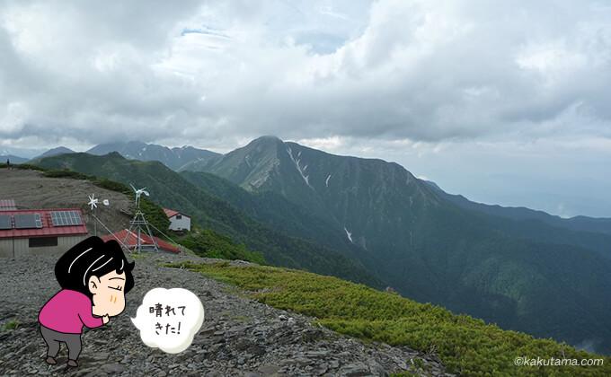 蝶ヶ岳からの山々の眺め