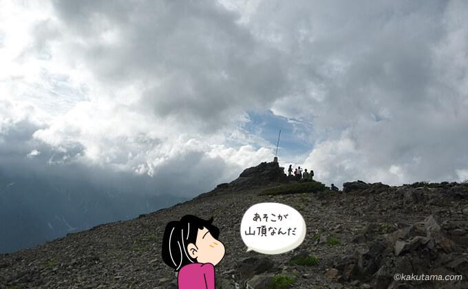 蝶ヶ岳山頂を離れて見る