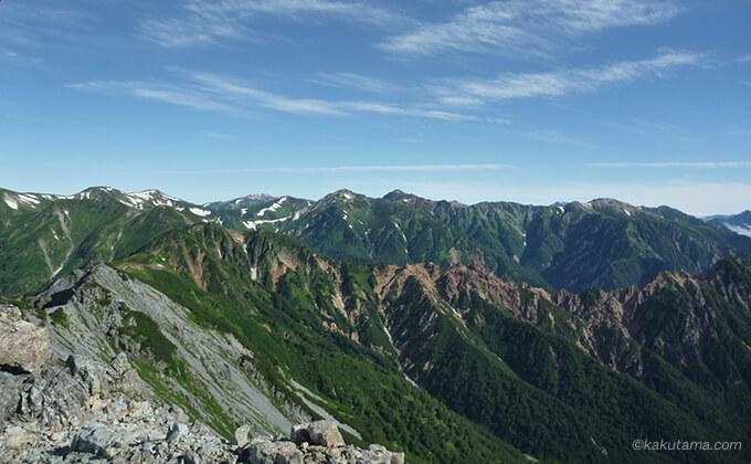 西鎌尾根から見る山並み