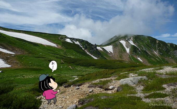 中道を歩いて双六岳へ
