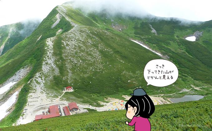 双六小屋を挟んで見る山々