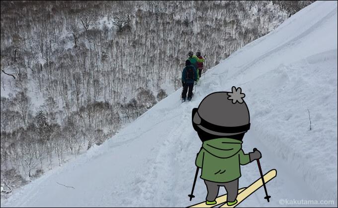 雪の上でのトラバース
