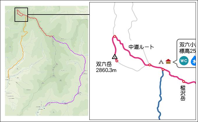 地図双六小屋から双六岳