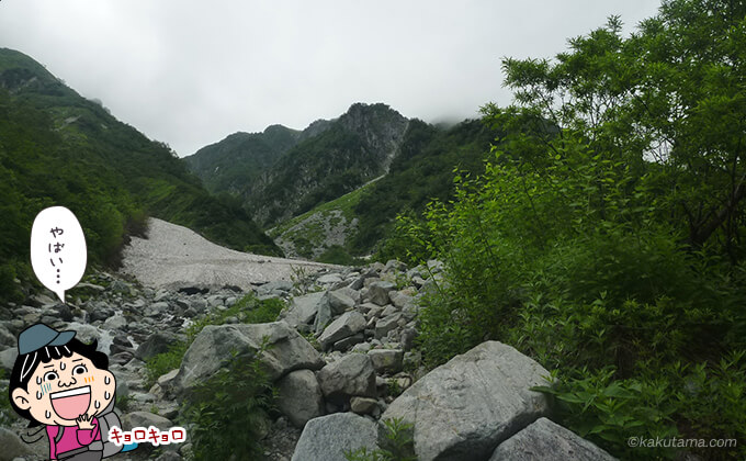 岩場と雪渓を振り返る