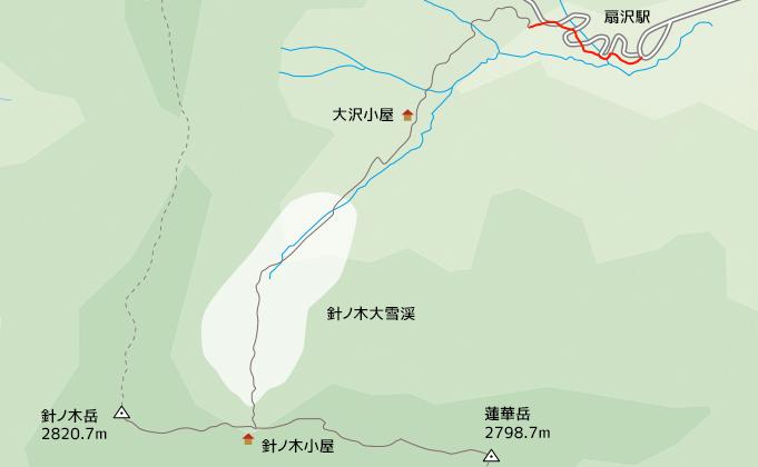 地図扇沢から針ノ木遊歩道