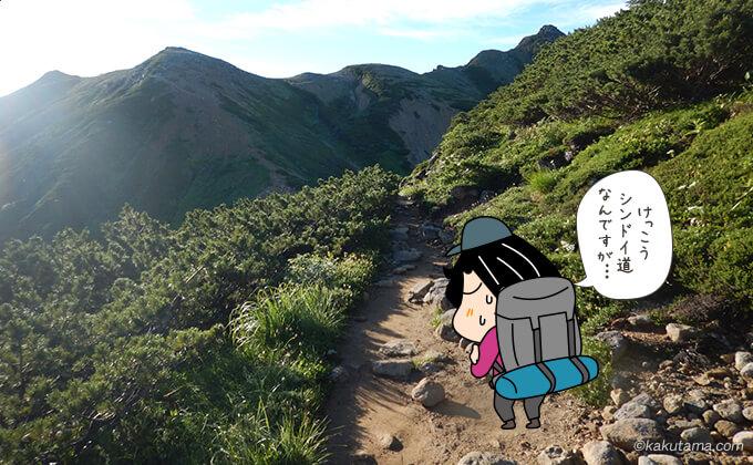 なかなか着かない岩苔乗越