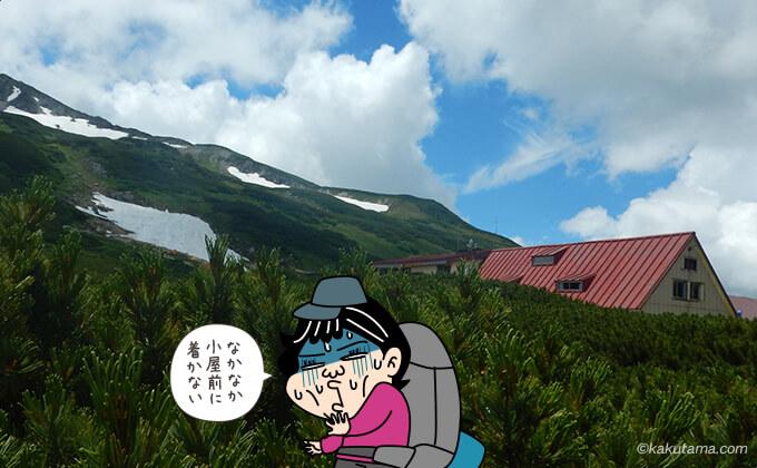 なかなかつかない三俣山荘
