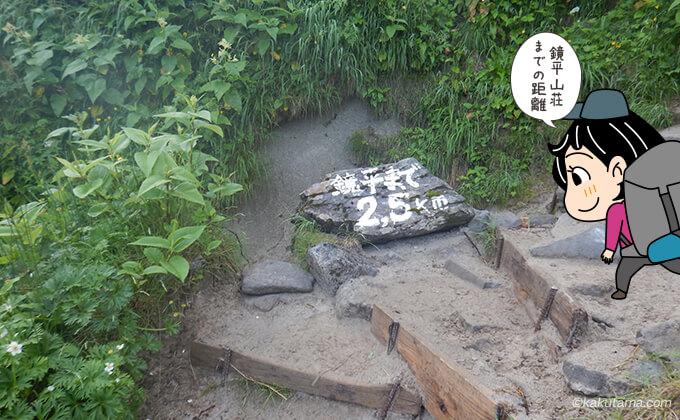 鏡平山荘までの距離を示す看板