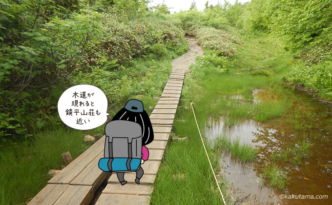 木道が現れると鏡平山荘も近い
