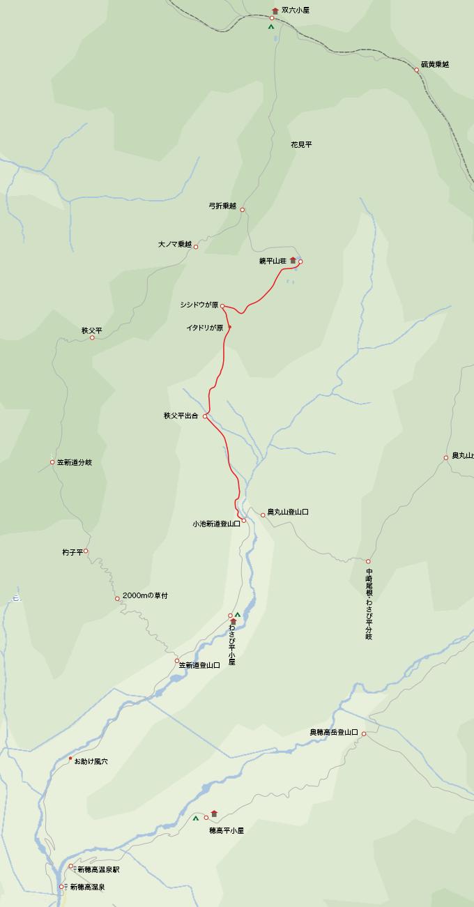 地図鏡平山荘から小池新道登山口