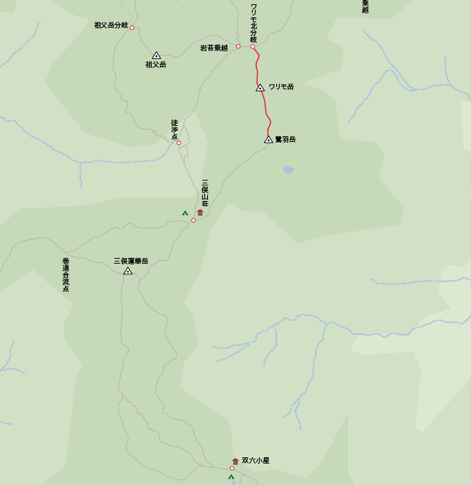 地図ワリモ岳から鷺羽岳