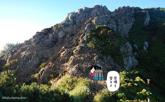 急な岩場の登りが再び