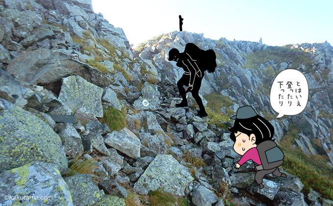 岩場をひたすら登る