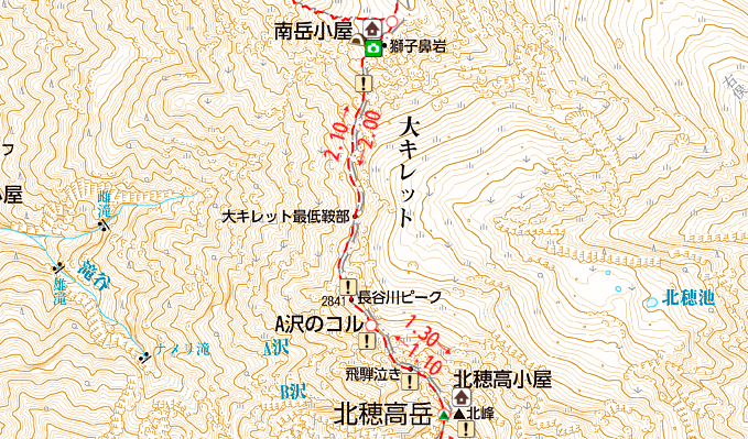 大キレットの地図