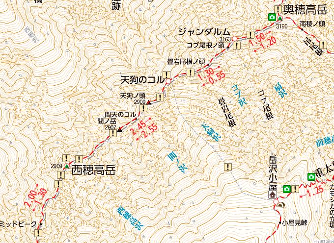 ジャンダルムの地図