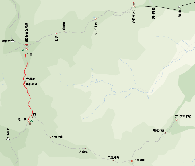 地図唐松頂上山荘から五竜岳