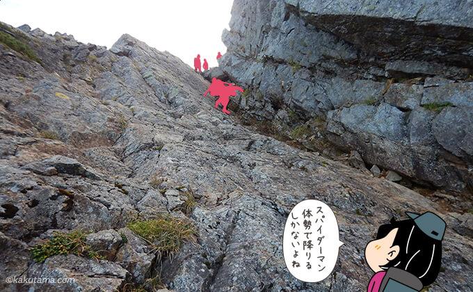 狭い岩場を下る人を見上げる