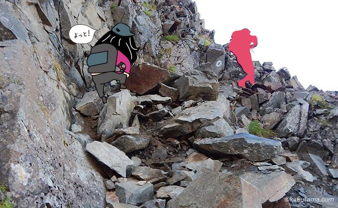 間ノ岳への登りが始まる