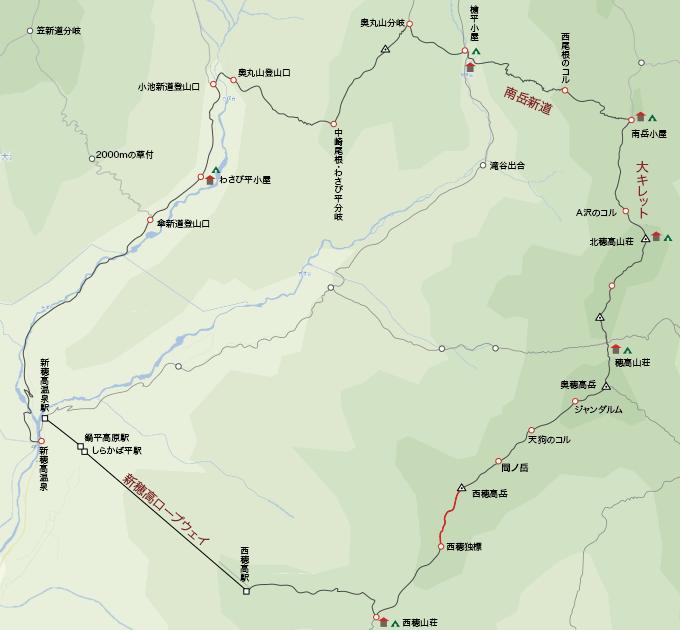 地図西穂高岳から西穂独標