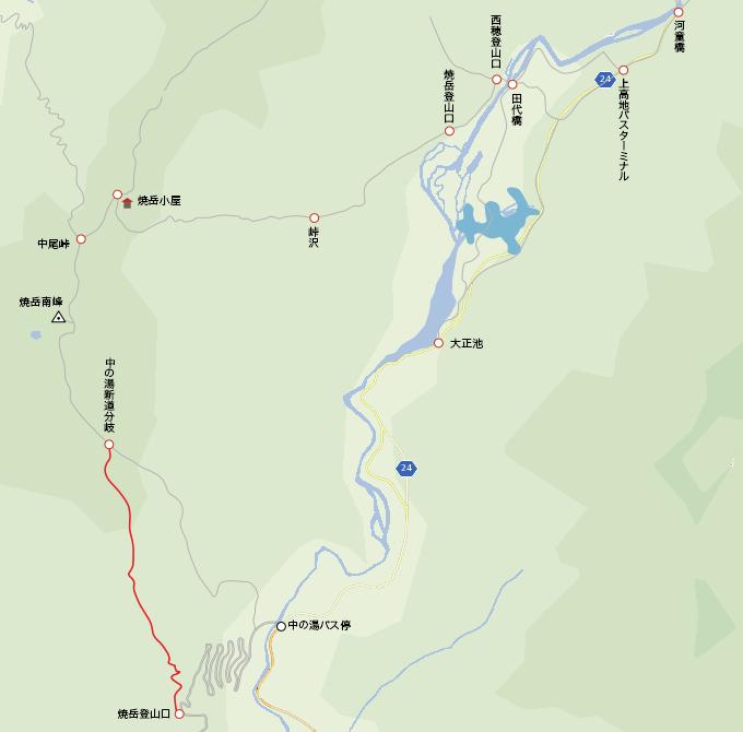 地図中の湯登山口から中の湯新道分岐