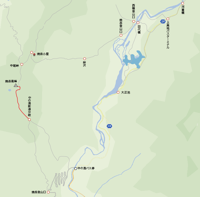 地図中の湯新道分岐から焼岳山頂