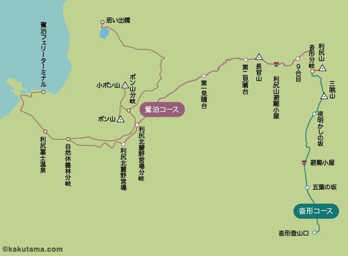 利尻岳の登山コースのイラスト