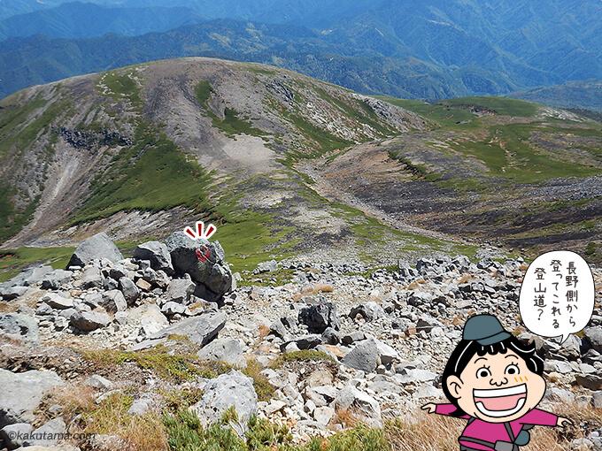 長野側からの登山道が見える