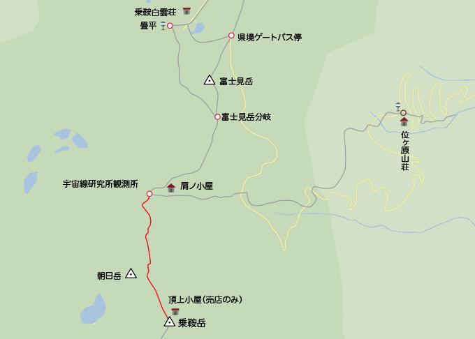 地図肩の小屋から剣ヶ峰
