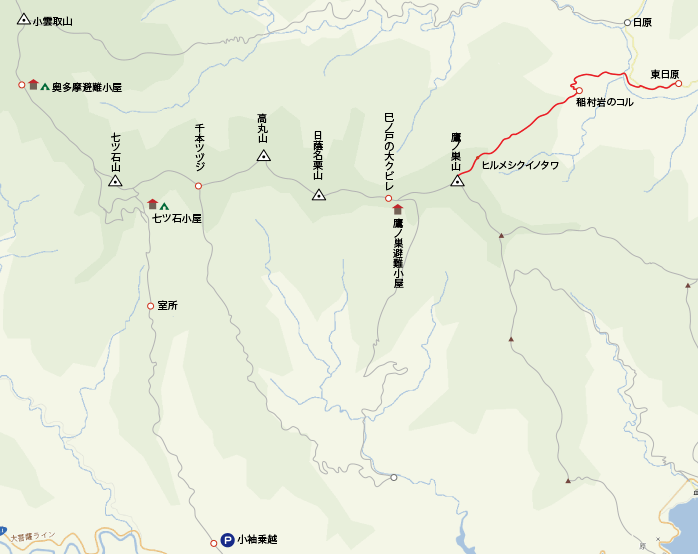 地図東日原から鷹ノ巣山