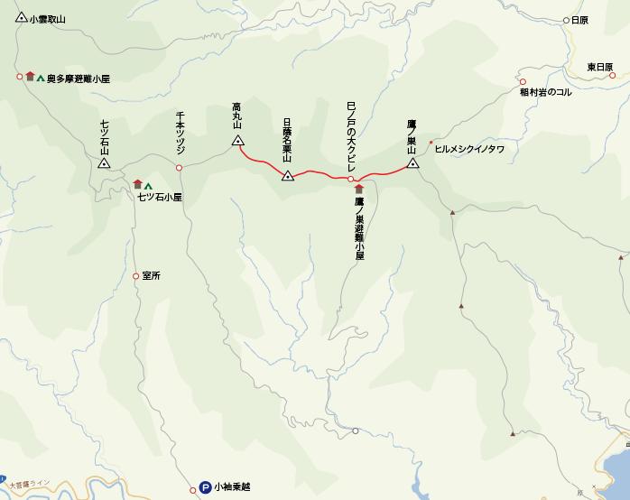 地図鷹ノ巣山から高丸山