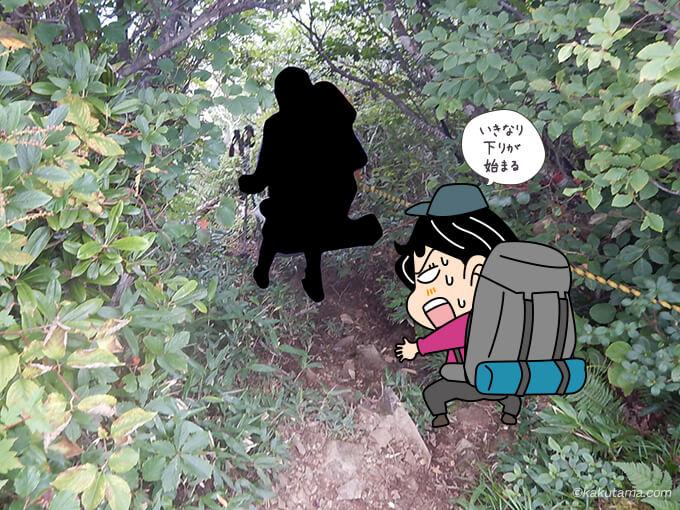 栂海山荘から出だしは下り