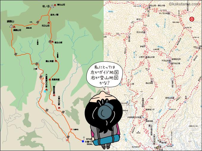 ガイド地図と登山地図