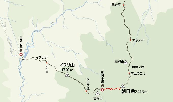 地図朝日小屋から朝日岳