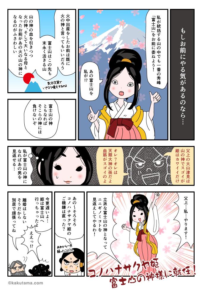 富士山の神様になる木花之佐久夜毘売命のマンガ