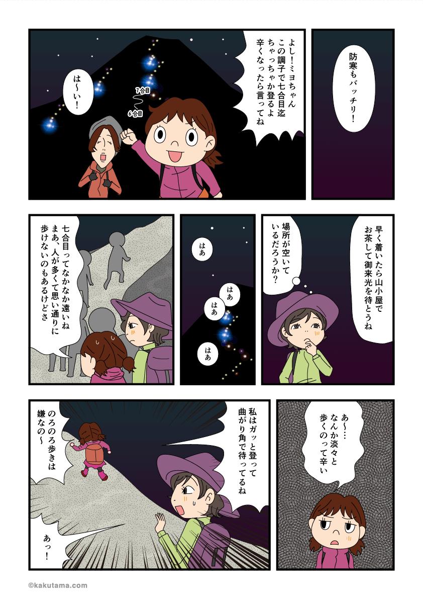 防寒具も着たので富士登山を続けるマンガ