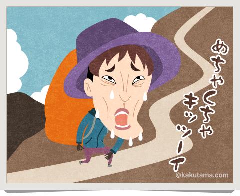 登山用語あごが出る状態のイラスト