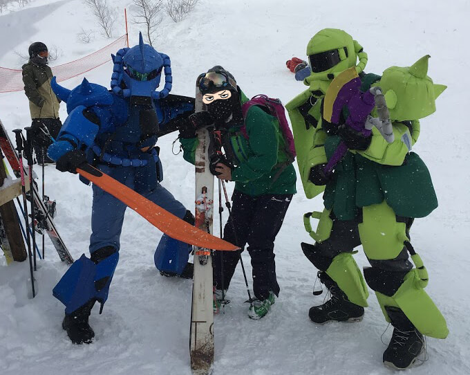 スキーウェアを着てる写真
