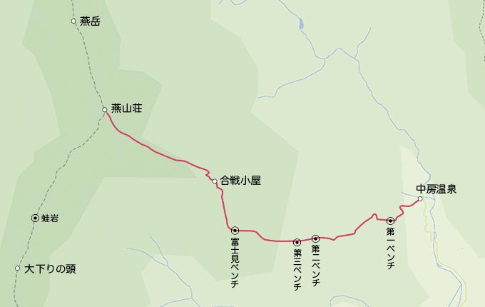 地図中房温泉から燕山荘