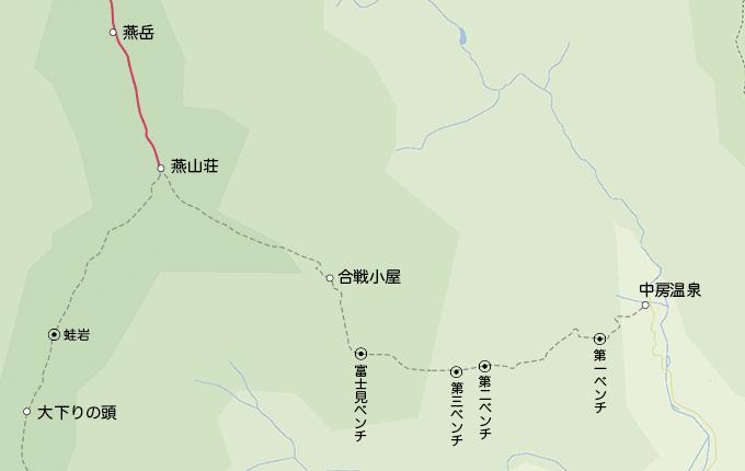 地図燕山荘から燕岳
