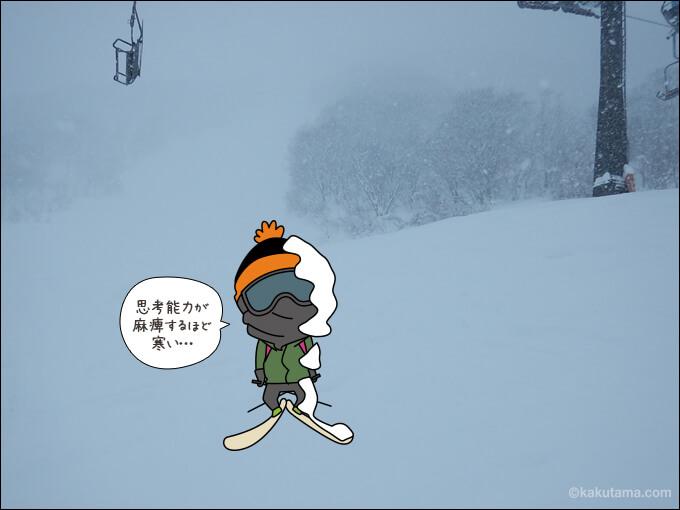雪上で厳しい寒さに耐えている