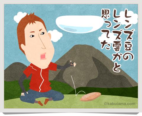 登山用語レンズ雲を見ているイラスト