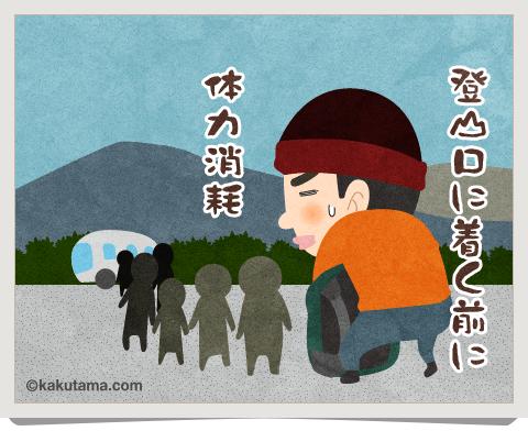 登山用語リムジンバスに並ぶ登山者のイラスト