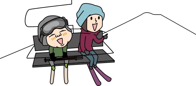山スキーを見てやってみたいというイラスト