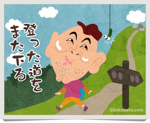 登山用語ピストンする男性